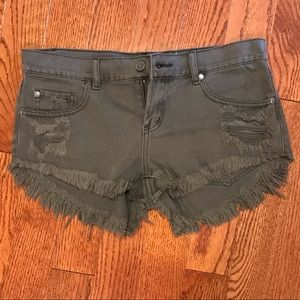 Pistola Olive Green Distressed Cutoff Shorts